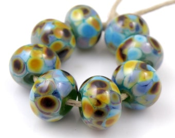 Garden Path - Handmade Artisan Lampwork Glass Beads 8mmx12mm - Green, Blue, Purple, Amber - SRA (Set of 8 Beads)
