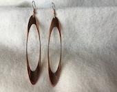 Sleek Long Copper Earrings