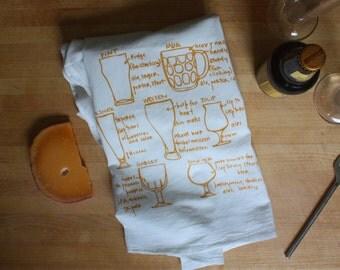 Beer glassware tea towel - white cotton floursack kitchen towel - craft beer - brewing - beer snob gift - beer gift - gifts for men