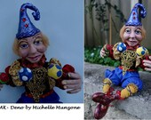 """DENO- OOAK - JESTER, Polymer Clay-Approx. 9"""" (23 cm) Tall (seated)"""