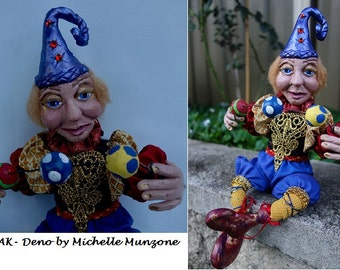 DENO, One Of A Kind, JESTER Art Doll, Polymer Clay Jester, Blue Jester, Michelle Munzone, Juggling Jester, Home Decor, Gift ideas