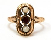 A RARE Antique Victorian Bohemian Garnet and Mother of Pearl Ring 10 Karat Solid Rose Gold English Hallmarks Size 7 Dated 1903