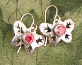"GEM style Butterfly Earrings with ""Salmon Sorbet"" CZ faceted stones - dainty, pink OOAK"
