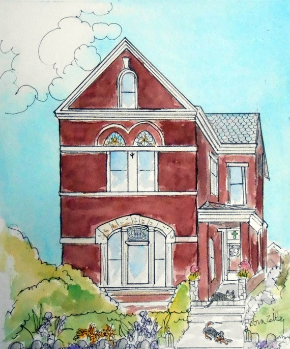 Victorian House Watercolor Painting Custom Home Portrait