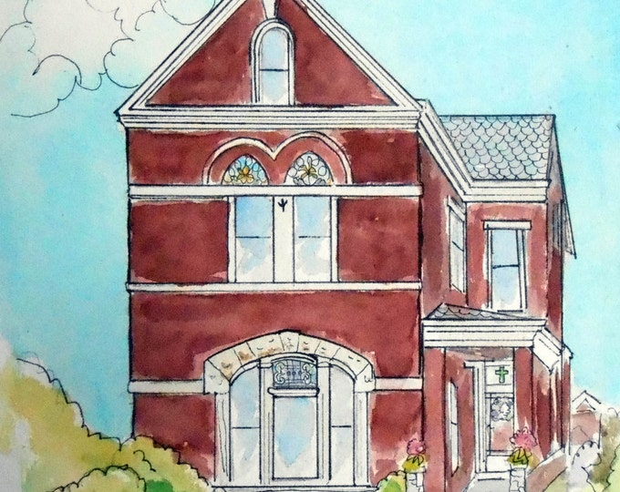 Victorian House Watercolor Painting, Custom Home Portrait
