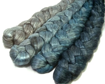 Handpainted Yak Silk Roving Bundle - 4 oz. SHADES of TURQUOISE - Spinning Fiber