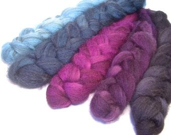 Handpainted Heathered BFL Wool Roving Bundle - 5 oz. TWILIGHT - Spinning Fiber