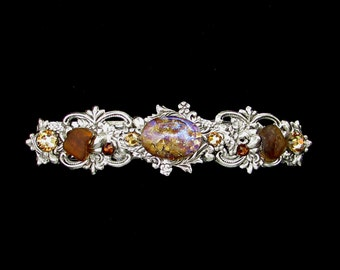 Sparkling Hair Barrette with Topaz Glass Opal and Beach Glass