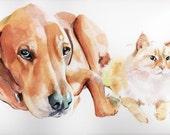 16x20 Custom Watercolor Pet Portrait with multiple pets for Kristen