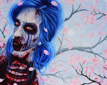 RW2 Signed Limited Edition Print Apocalyptic Blue Hair ZOMBIE by Robert Walker