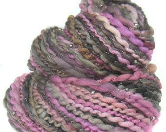 Handspun Art Yarn Merino wool with beads