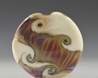 Handmade Lampwork Focal Bead in Ivory and Sunset by Pam Brisse aka The Blue Between