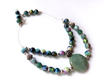 Multi Strand Jade Necklace,  Beaded Green and Silver, Woodland Bib Necklace, Double Strand, Boho Jewelry. Gift for Her