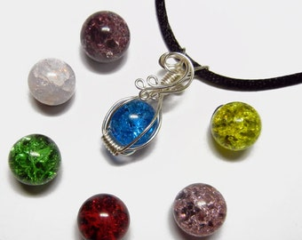 Interchangeable Wire Wrap Fried Fractured Marble Pendant with Necklace