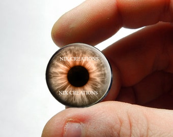 Custom Blythe Glass Eye Chips - Brown Zombie Human Doll Taxidermy Eyes Handmade Glass Cabochons - Pair or Single - You Choose Size