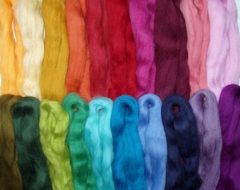 8.9oz/250g, 20 colours merino felting wool, spinning fiber, wool roving, needle felting wool, wet felting, dolls hair, wool tops, lot no. 70