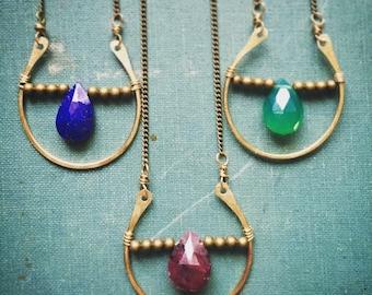 Brass Horseshoe necklace | faceted gemstone | boho necklace | rustic necklace