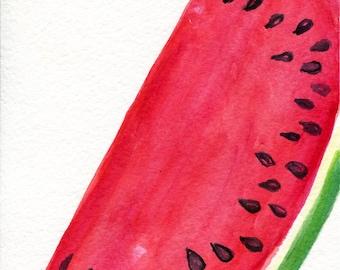 Watermelon Watercolor Painting, Small Fruit Wall Art 5 x 7 Original RED Melon, kitchen decor, food artwork, original painting