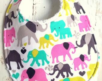 SALE - Baby Bib for Girl  - Triple Layer Chenille  - Multi Pastel Elephant Walk
