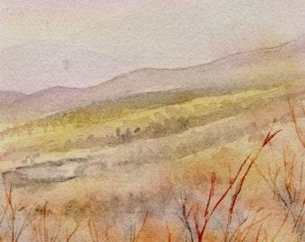 Smokey Mountains art painting original watercolor fine print cabin decor cottage decor hills landscape
