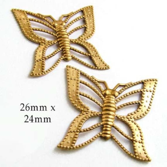 golden brass filigree butterfly charms