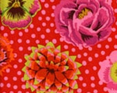 Big Blooms in Red ,pink  polka dots 1/2 yard Kaffe Fassett Fabric GP91 Westminster Fiber/ Cotton, Quilt Craft and Apparrell fabric
