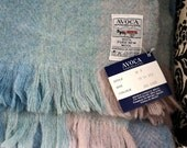 Vintage Irish Avoca Handweavers Blanket Throw Blanket Wool Blankets and Throws Lap Blanket New Old Stock Pastel Blue Pink Cream Mint