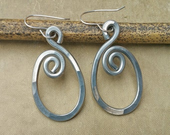 Spiraling Oval Aluminum Earrings, Light Weight Aluminum Hammered Wire Metal Spirals, Gift for Women, Wife, Swirls Dangle Earrings, Jewelry