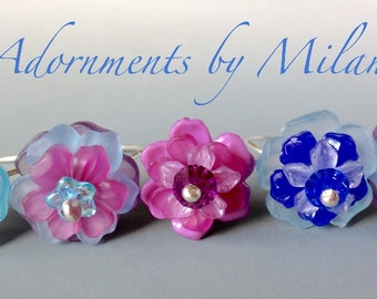 Blue Plum Lilac Purple Pink Rings 5 Five Bridesmaid Gift Maid of Honor Jewelry Flowers Floral Hawaiian Tropical Wedding