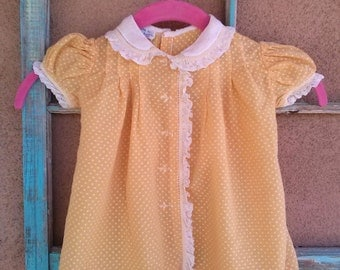 Vintage 1950s Baby Dress Sundress Dotted Swiss Polka Dot 12 Months Toddler 2015219