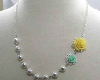 Yellow Mint Green White and Silver Flower Bridesmaids Wedding Necklace