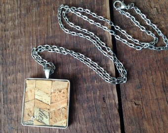 Recycled wine cork mosaic necklace D