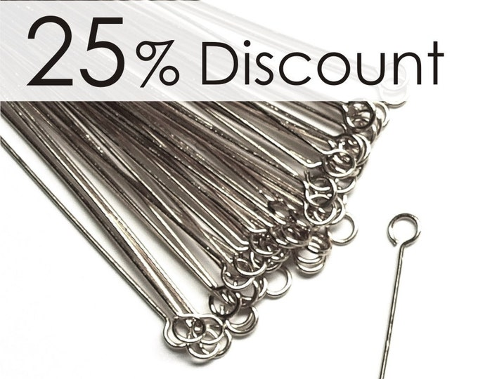 EPBRP-5024 - Eye Pin, 2 in/24 ga, Rhodium - 500 Pieces (10pk)