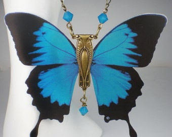Butterfly Necklace Teal Blue Art Nouveau Vintage Inspired Butterfly Jewelry