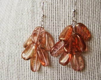 Pink and Gold Glass Earrings