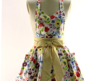 Watercolor Floral Flouncy Bib Apron