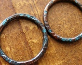 Aqua Shimmer Chestnut Links - 1 pair - 18mm Patina Copper Artisan Findings