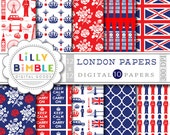 40% off LONDON digital papers for scrapbooking, cards, invites, parties INSTANT DOWNLOAD