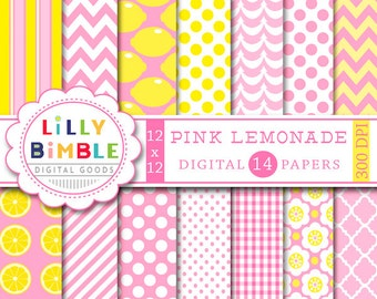 40% off PINK LEMONADE digital papers with chevron, polka dots, quatrefoil, stripes, yellow and pink Digital Download