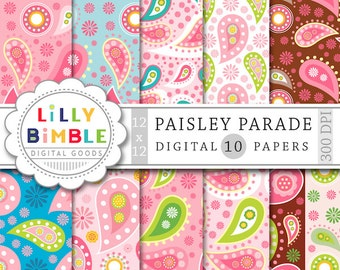 50% off Paisley digital paper, scrapbook papers, pink and brown, green, Instant Download, commercial use