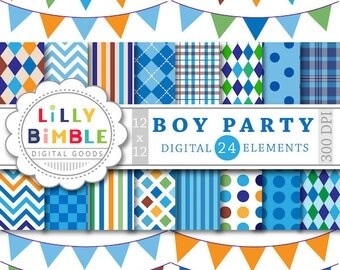 60% off Digital papers for Boys birthday parties bunting scrapbooking plaid, dark blue, orange, green, INSTANT DOWNLOAD