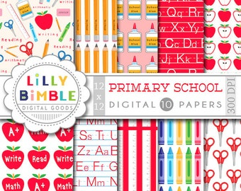 50% off School primary elementary education digital scrapbook paper apples, supplies Instant Download