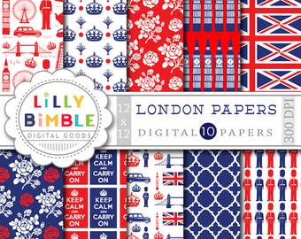 60% off LONDON digital papers for scrapbooking, cards, invites, parties INSTANT DOWNLOAD