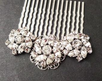 Vintage Style Rhinestone Bridal Hair Comb, Vintage Bridal Crystal Hair Piece, Bridal Hair Accessories, Crystal Wedding Hair Comb, CELINE