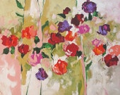 Abstract Floral Acrylic Painting Giclee Print Made To Order Red Violet Pink Roses Impressionist Fine Art Print Wall Decor by Linda Monfort