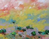 Landscape Abstract Acrylic Painting Giclee Print Impressionist Art Peach Yellow Made To Order Large Fine Art Print Wall Decor Linda Monfort