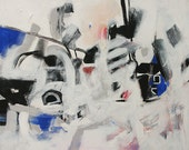Original Abstract Painting Giclee Print Black White Expressionist Painting Modern Art Made To Order Large Fine Art Print by Linda Monfort