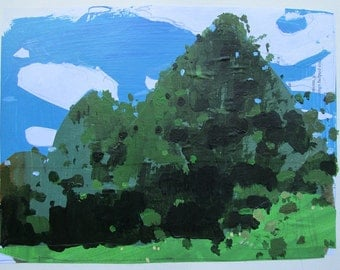 Cedar Wall, Canada Day, Original Landscape Collage Painting on Paper, Stooshinoff