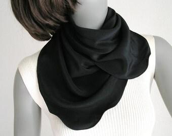 "Black Square Scarf, Small Neck Scarf, Natural Crepe Silk, Black Crepe Scarf, 21""x21"", Pure Silk, Artisan Handmade, Artinsilk, Ready to Ship"