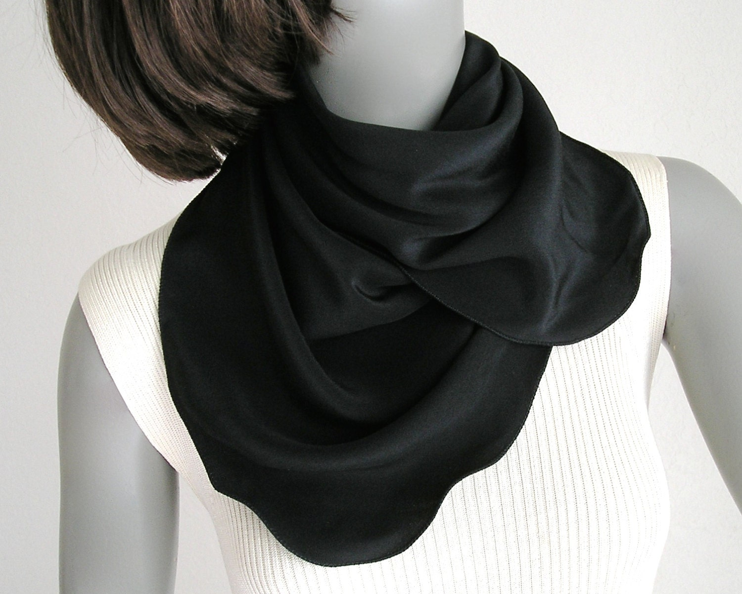 black square scarf small neck scarf crepe silk